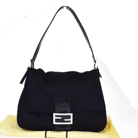 Fendi Handbags - FENDI FF Logo Manma Shoulder Bag Wool Black Silver